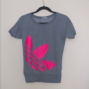 Adidas Gray & Neon Pink Small sweatshirt